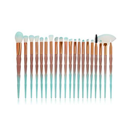 SDHF Maquillage Pinceaux poudre Ombre à paupières Fondation Blend fard à joues lèvres cosmétiques Beauté douce Maquillage outil Pinceau, 20pcs / Kit (Couleur : Green Brown, Size : One Size)