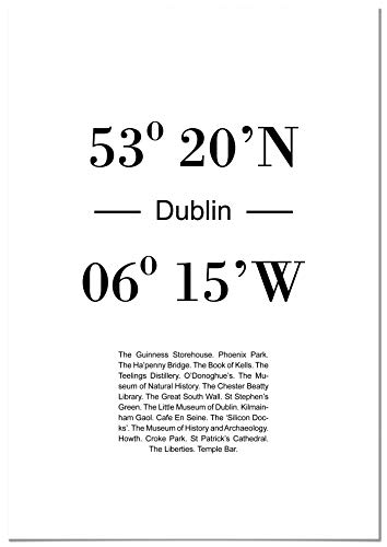 Panorama Póster Coordenadas Ciudad de Dublin 50 x 70 cm - Impreso en Papel 250gr - Póster Pared - Cuadros Decoración Salón - Cuadros Dormitorio - Póster Decorativos - Cuadros Modernos