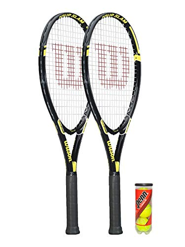 Wilson Tour Slam - Raqueta de tenis (2 y 3 pelotas de tenis), color negro