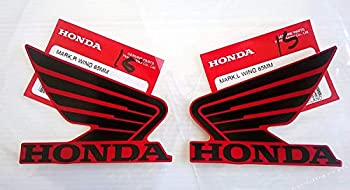 Honda 86201-K26-A00ZB / 86202-K26-A00ZB - Honda Wings Fuel Tank Gas Tank Stickers Decals 2 X 85MM Black/Red Left & Right Genuine