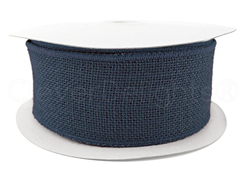 CleverDelights 2.5' Burlap Ribbon - Wired/Finished Edges - 25 Yards - Navy Blue Color - Super-Fine Fabric Weave