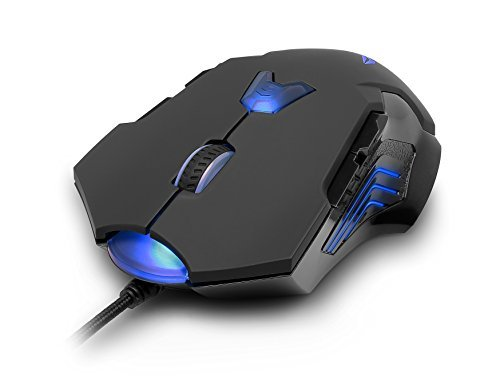 PUREX Technology 8200 DPI High Precision Programmable Wired Laser Gaming Mouse, 8 Programmable Buttons, 6 DPI Settings, 6 Color LED Indicating Profiles, Rubber Coating-PXE-M811LU