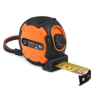 Tacklife Measuring Tape TM-B03 Tape Measure 26-Foot(8m) Tape Ruler Metric and Inches Measuring Tape with Magnetic Hook, Nylon Coating, Wrist Strap for Construction, Home, Carpentry Measurement