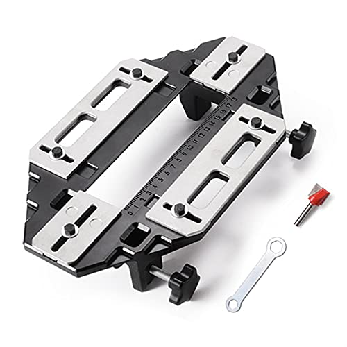 RTYUIE Wooden Door Hinge Hole Opener Hinge Positioning Slotter Hinge Lock Guide Plate Hole Opener with Wrench Bottom Knife Woodworking Installation is Convenient, Strong and Durable