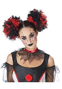 Clown Hair Clip-On Puff Buns Standard Black