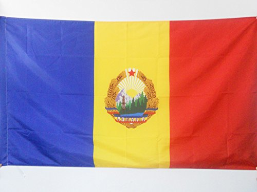 AZ FLAG Flagge SOZIALISTISCHE Republik RUMÄNIEN 1947-1989 90x60cm - RUMÄNISCH Fahne 60 x 90 cm Scheide für Mast - flaggen Top Qualität
