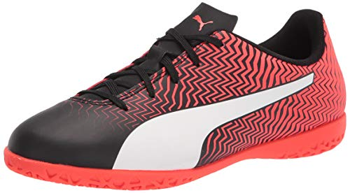 PUMA Rapido II It Jr - Zapatillas de fútbol para niños, Puma Black-puma Blanco-Rojo Blast, 4 Big Kid
