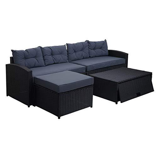 Mendler XXL Poly-Rattan Garnitur HWC-G29, Gartengarnitur Sitzgruppe Lounge-Set, 238cm ~ schwarz, Kissen dunkelgrau