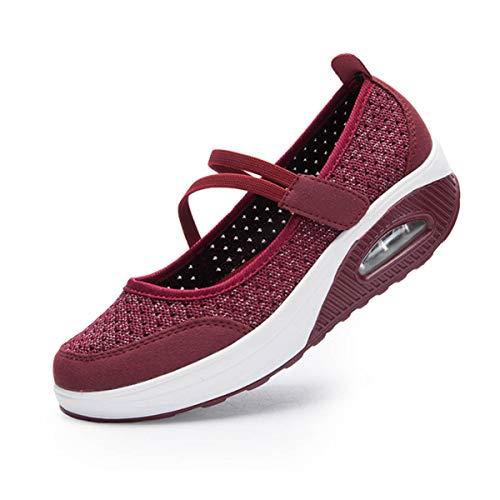 [todaysunny] 船型底ナースシューズ レディース ダイエットシューズ 厚底スニーカー 姿勢矯正 ダイエット 美脚 軽量 レースアップ ウォーキングシューズ 看護師 作業靴 歩きやすい 疲れない 婦人靴 厚底シューズ (22.5cm, レッド-1)