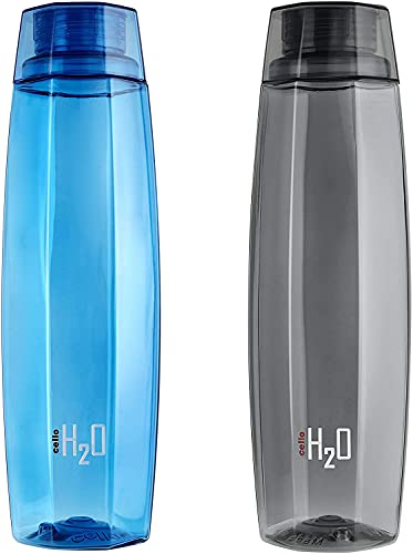 Cello H2O Octa 1 Litre Water Bottle Set of 2, Assorted , Plastic