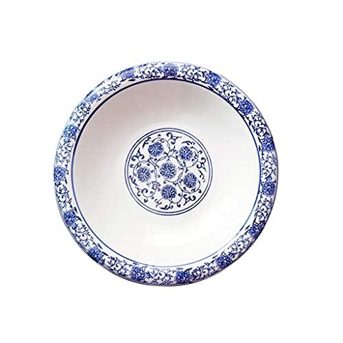 YNHNI Plato redondo azul pintado a mano placa de cerámica para restaurantes y hotel, decoración de alimentos (tamaño: 30 cm)