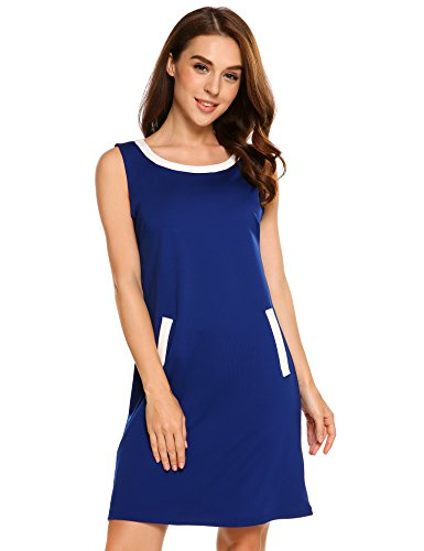 Beyove Women's Denim Patchwork Casual Sleeveless Mini Tunic Dress,Navy Blue,M