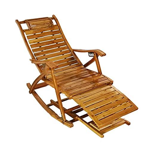 Tumbonas XIAOR Plegable de Bambú para el Hogar, Sillón Reclinable Ajustable, Masaje, Mecedora, Silla de Ocio para Ancianos, Respaldo de Madera Maciza, Carga 150 Kg