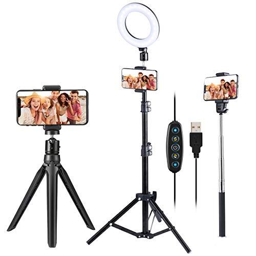 """VicTsing Ringleuchte Stativ mit 5 Farbe & 5 Helligkeitsstufe, 6.3"""" Ringleuchte mit Handyhalterung Ringlicht mit Desktop Stativ/Verstellbarer Stativständer/Selfie Stick für TikTok/YouTube/Makeup"""