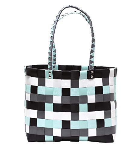 XXL Big Bag Shopper Tasche Flechttasche Strandtasche knautschfähig robust abwaschbar bunt MINT & GRAU
