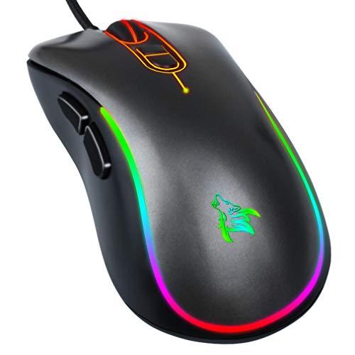 HOTLIFE Gaming Maus, 6400 DPI Sensor, USB-Anschluss RGB-Beleuchtung, 7 Programmierbare Tasten Anpassbare Spielprofile Optischer Sensor USB Wired Gaming Maus (Grau-1)