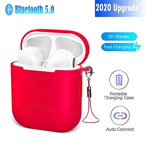 Headphones with silicone case charging box, stereo Headphones with built-in HD microphone Bluetooth Wireless Earbuds noise reduction sports Headphones, suitable for Android Xiaomi Huawei(red)