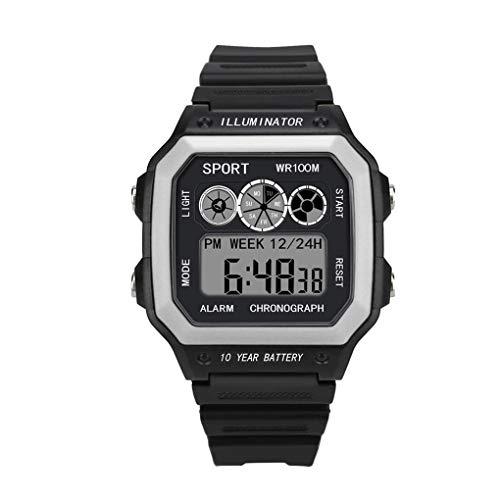 Digital Sport Uhren für Herren, Skxinn Unisex-Stoppuhr 30M Wasserdicht multifunktionale Mode Sport LED Armbanduhren Ausverkauf(Weiß,One Size)