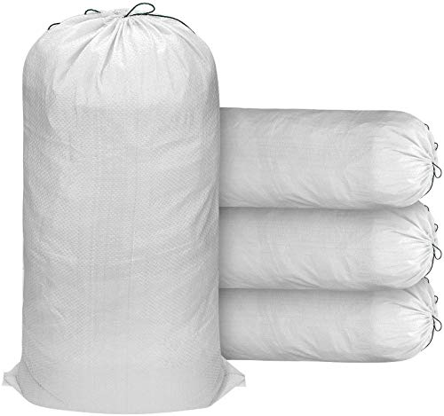 """Sand Bags for Flood Control 50 Pack, Empty White Woven Polypropylene Sandbags of 14""""X 26"""", Sandbags UV Coating Protection with Ties"""