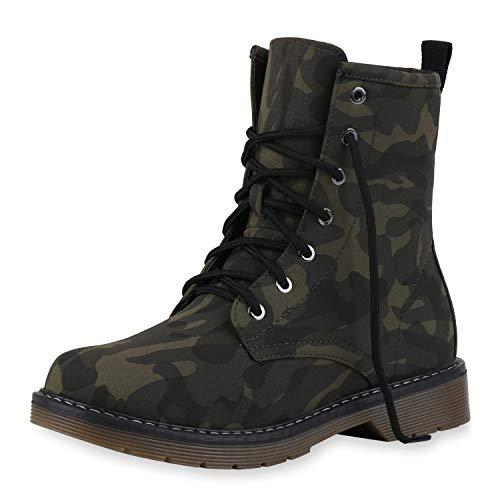 SCARPE VITA Damen Worker Boots Gefütterte Stiefeletten Camouflage Print Schuhe Schnürboots...