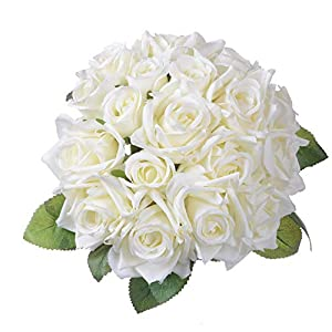 Artiflr Artificial Flowers Rose Bouquet 2 Pack Fake Flowers Silk Plastic Artificial White Roses 18 Heads Bridal Wedding Bouquet for Home Garden Party Wedding Decoration (White)