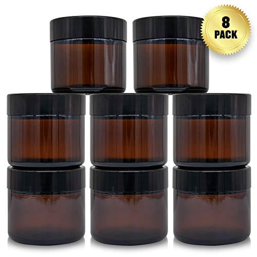 Bruine Glazen Cosmetica Potjes met Schroefdeksel en Witte Binnenkant voor Creme, Lotions en Essentiele Olien - 2oz / 60ml potje (8 Stuks)