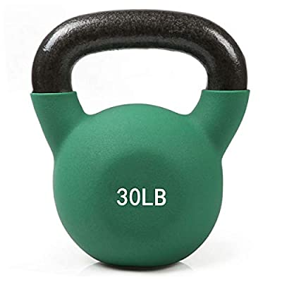 RitFit Neoprene Coated Solid Cast Iron Kettlebell - Great for Full Body Workout, Cross-Training, Weight Loss & Strength Training (5/10/15/20/25/30/35/40/45/50 LB) (30LB(Green)) by RitFit