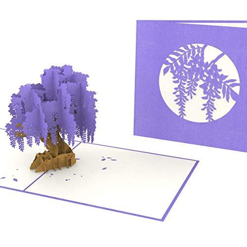 PrimePopUp   Blauregen Wisteria Baum   3D Pop Up Grußkarte   Gute Besserung Karte   Viel Glück   Alles Gute   Gesundheit   Erfolg   Geburtstagskarte für Geldgeschenk oder als Gutschein