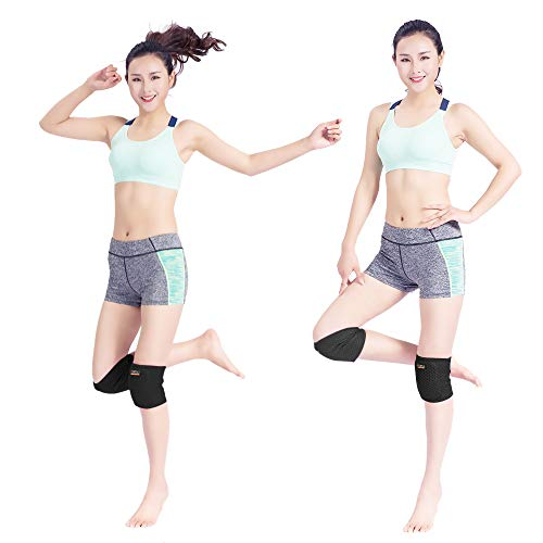 Hueglo Adjustable Protective Soft Sponge Dance Knee Pad for Women Girls, Stabilized Cushiony Breathable Knee Pads for Dancing/Yoga/Sports/Exercise/Volleyball 2Packs Dance Protector, Black