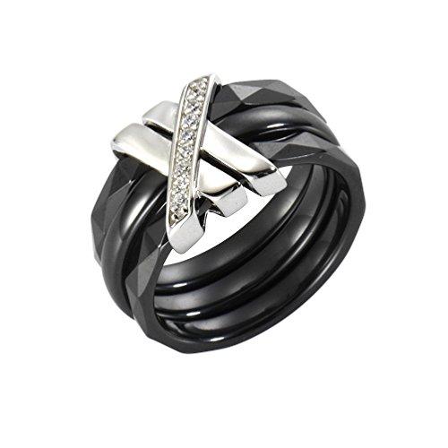 Jacques Lemans Damen Ring 925/- Sterling Silber mit Keramik und Zirkonia 925/- Sterling Silber Glänzend Zirkonia schwarz 490270025