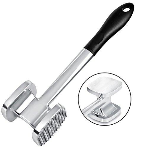 TIMESETL 28cm Martillo ablandador de Carne de Aluminio Resistente de Doble Cara 140 Pincho y Superficie Plana Carne de Pollo Pounder Mallet Kitchen Tool - Mango Negro