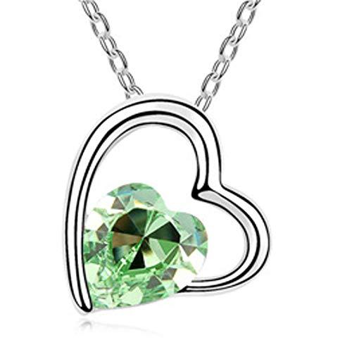 QUADIVA G! - Collana da donna con ciondolo a forma di cuore con cuore verde (colore: oro bianco/cristallo a forma di cuore verde) decorata con cristalli di Swarowski®