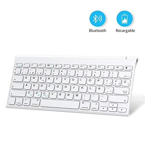 OMOTON Teclado Bluetooth Recargable con iPad 10.2, iPad Pro 9.7, iPad Air, iPad, iPad Mini, Teclado Recargable Bluetooth Español iPadOS/iOS, Blanco