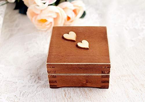 Vorschlag Ring Box mit zwei Herzen, Verlobungsring Box, Mini Box für Ringe, Ehering Box, Aufbewahrungsbox