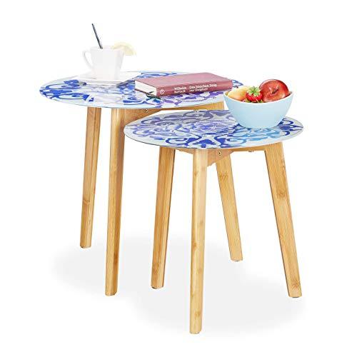 Relaxdays, Blanco-Azul, 40 & 50 cm Ø Set 2 Mesas Auxiliares con Diseño Floral, Bambú-Cristal