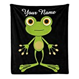 CUXWEOT Custom Blanket with Name Text,Personalized Animal Frog Super Soft Fleece Throw Blanket for Couch Sofa Bed (50 X 60 inches)