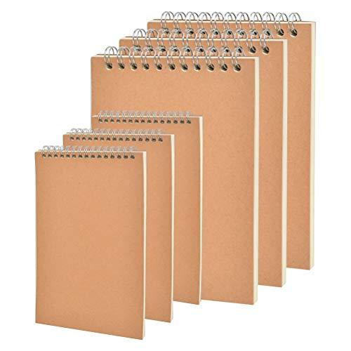 6pcs Bloc de Notas Espiral A5+A6,Cuadernos de Bocetos,Cuaderno de Notas de Papel en Blanco,Bloc Cuaderno de Dibujo con Cubierta de Kraft,Libreta Hojas Blancas,Bloc de Notas para Dibujar, Escribir