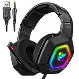 PS4 Gaming Headset, Wired Musik-Kopfhörer mit Rauschunterdrückung Mikrofon RGB Beleuchtung 3,5 mm Stecker Surround Stereo, für PS4 / Xbox One/Telefon/Laptop