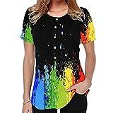 Elesoon Camiseta de verano para mujer, talla grande, bohemio, étnico, tribal, estampado de cachemira, manga corta, suelta, con cuello en O, B-gradient Black, 44