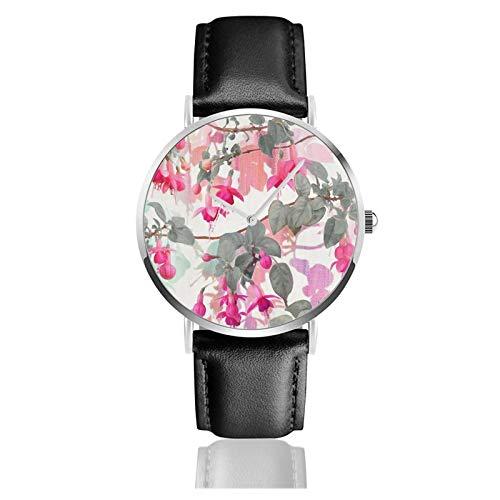 Reloj de cuero Rainbow Fucsia Floral Patrón con Gris Unisex Clásico Casual Moda Reloj de Cuarzo Reloj de Acero Inoxidable con Correa de Cuero