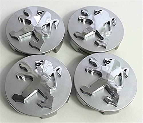 4 Piezas Tapas Centrales Tapacubos para Peugeot 106 107 206 207 306 307 506 507 108 208 308,con el Emblema Coche Rueda Tapas De Centro,Resistente De Polvo Coche Centro de Rueda de Tapas,60mm