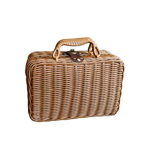 CVHOMEDECO Mini étui de rangement vintage imitation rotin panier de pique-nique en résine osier valise accessoires photo Marron clair 10-1/4 X 4-1/2 X 7\