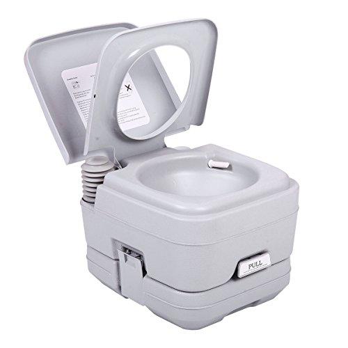JAXPETY 2.8 Gallon 10L Flush Porta Potti Outdoor Indoor Travel Camping Portable Toilet for Car, Boat, Caravan, Campsite, Hospital Gray