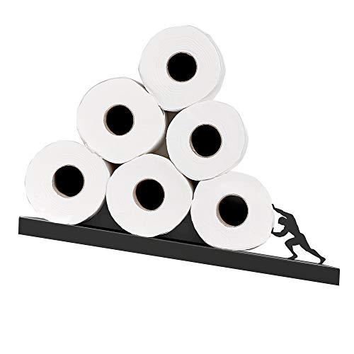 Toilettenpapierhalter – Sisyphus-Regal für Toilettenpapierrollen – Gekipptes Toilettenpapier Regal – Schwarze Toilettenpapier-Aufbewahrung – Einzigartige Seidenpapier-Rollen Aufbewahrung