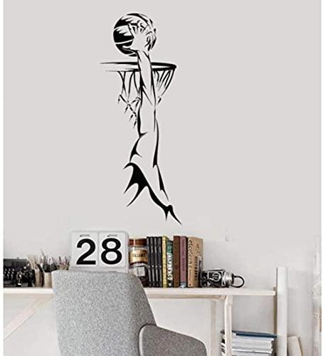 Pegatina de pared Logotipo de baloncesto Sala de deportes Decoración puerta interior mural decoración de arte de vinilo para el dormitorio 42 * 109cm