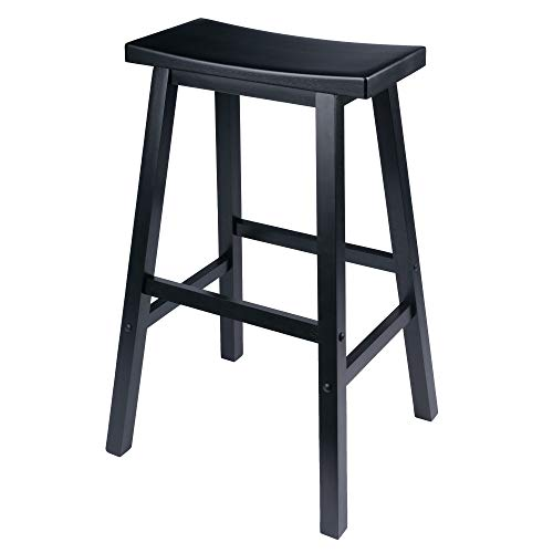 Winsome Wood 29-Inch Saddle Seat Bar Stool, Black