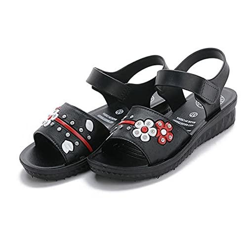 Zapatos de Punta Abierta para Mujer Chanclas Tacon de Cuña Plataforma del Verano Cómodos Moda Banda elástica Senderismo Caminando Zapatos para Fiesta,Turismo,jardín,Pool (Color : Black, Size : 39)