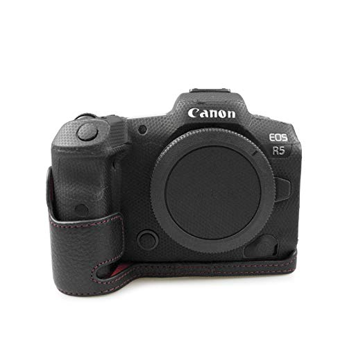 MUZIRI KINOKOO Echt Leder Tasche für Canon EOS R6, Schutztasche Leder Tasche Canon EOS R5 Kamera Tasche EOS R5 / EOS R6 Echtleder Cover Grip Hülle - Schwarz