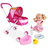 La stampa del fumetto Set 4PCS / SET Doll Passeggino pieghevole carrozzina regalo con la bambola di disegno del bambino Passeggino con il regalo per bambole (Rainbow Car) accessori
