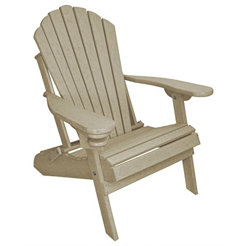 Outer Banks Deluxe Oversized Poly Lumber Folding Adirondack Chair (Antique Mahogany)